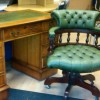 4ft x 2ft three piece desk, with green inlay. And a green captain chair. £295
