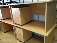 Beech Panel Ended Desks + Pedestals